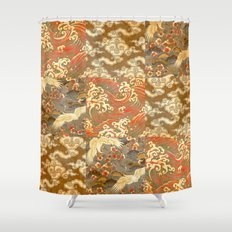 Japanese Print Sea Sky Earth   Earth Tones Shower Curtain