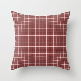 Brandy - purple color - White Lines Grid Pattern Throw Pillow