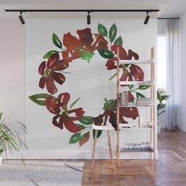 Autumn Watercolor Burgundy Flowers Wall Mural