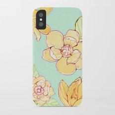 Summer flowers blue iPhone X Slim Case