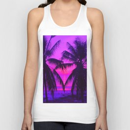 Pink Palm Trees by the Indian Ocean Unisex Tank Top