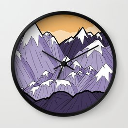 Mountains under the orange sky Wall Clock