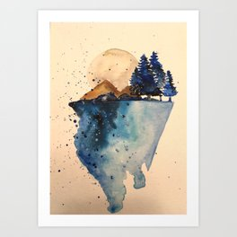 On a rock in space Art Print