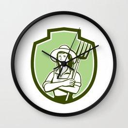 Female Organic Farmer Pitchfork Shield Retro Wall Clock