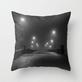 Newport Pier in Fog Throw Pillow