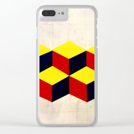 yellow, blue and red Clear iPhone Case