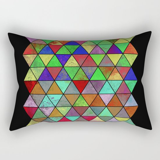 Textured Triangles 2 - Abstract, geometric, textured painting Rectangular Pillow