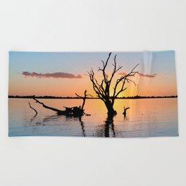 Sunset Silhouette Beach Towel