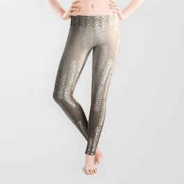 Eye of the Magpie tribal style pattern - champagne Leggings