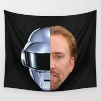 nicolas cage Wall Tapestries featuring Daft Cage by Jared Cady
