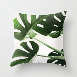 CloseUp Monstera Throw Pillow