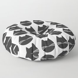 Cat Spies - Black and White Floor Pillow
