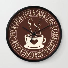 Coffee & Cats & Coffee Wall Clock