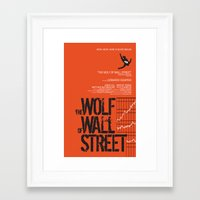 wolf of wall street Framed Art Prints featuring The Wolf of Wall Street  by Geminianum