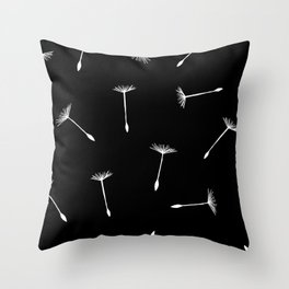 flying dandelion seeds simple seamless pattern on Black Background Throw Pillow