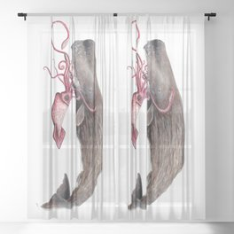 Epic battle between the sperm whale and the giant squid Sheer Curtain