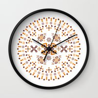 orange pattern Wall Clocks featuring Pattern - Orange by Fernando Rocks - Let's Rock the Wall