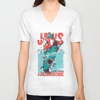 jaws V-neck T-shirts featuring Jaws by Tshirt-Factory