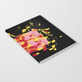 Paint Dance Pink Square Yellow Red on Black Notebook