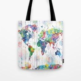 world map mandala white Tote Bag