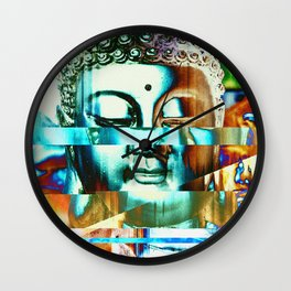 Glitch Buddha #3 Wall Clock