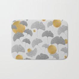 Golden Ginkgo Biloba Leaf Pattern Bath Mat
