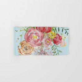 Bouquet of Watercolor on Blue Background Hand & Bath Towel