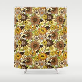 Flower Power brown Shower Curtain