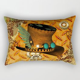 Steampunk, hat with clocks and gears Rectangular Pillow