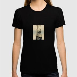 Hokusai -falcon next to a plum tree in bloom - 葛飾 北斎,hawk,bird. T-shirt