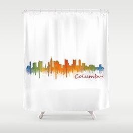Columbus Ohio, City Skyline, watercolor  Cityscape Hq v2 Shower Curtain