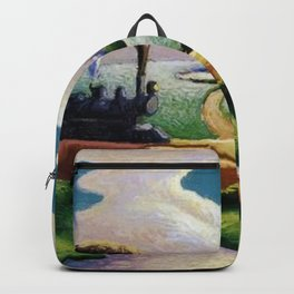 American West Classical Masterpiece 'Trains Colliding' by Thomas Hart Benton Backpack