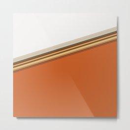 Aztec Orange and White Split Stripe Design Metal Print