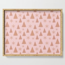 Rose Gold Glitter Christmas Tree Pattern Serving Tray