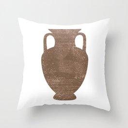 Minimal Abstract Greek Vase 3 - Amphora - Terracotta Series - Modern, Contemporary Print - Sepia Throw Pillow