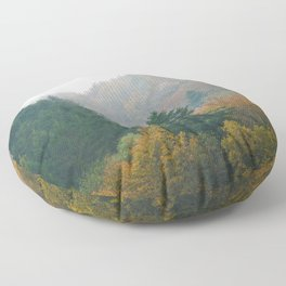 Foggy autumn forest layers disappearing in fog Floor Pillow