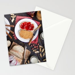 Peanut butter and jelly sandwich on a rustic table Stationery Cards