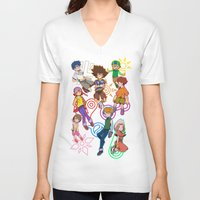 digimon V-neck T-shirts featuring digi destined by SIDE PROJECT