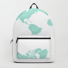 TURQUOISE GLITTER WORLD MAP Backpack