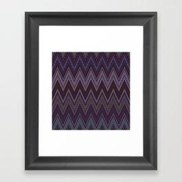 Dark purple blue zigzag Framed Art Print