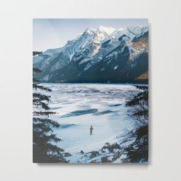 Winter at Lake Minnewanka Metal Print