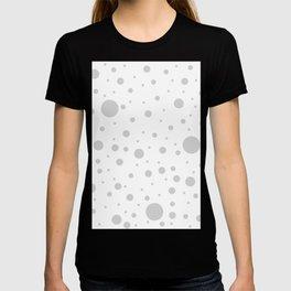 Mixed Polka Dots - Light Gray on White T-shirt