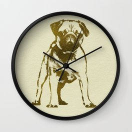 Pug Puppy sketch on canvas with gold accents Wall Clock