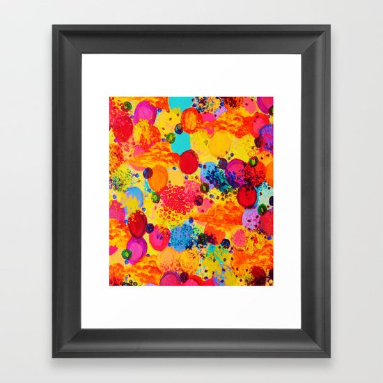 TIME FOR BUBBLY 2 - Fun Fiery Orange Red Whimsical Bubbles Bright Colorful Abstract Acrylic Painting Framed Art Print