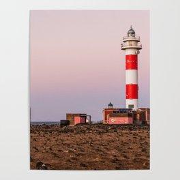 Lighthouse in Fuerteventura at sunset Poster
