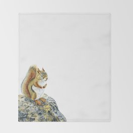 Bright-eyed and Bushy-tailed by Teresa Thompson Throw Blanket