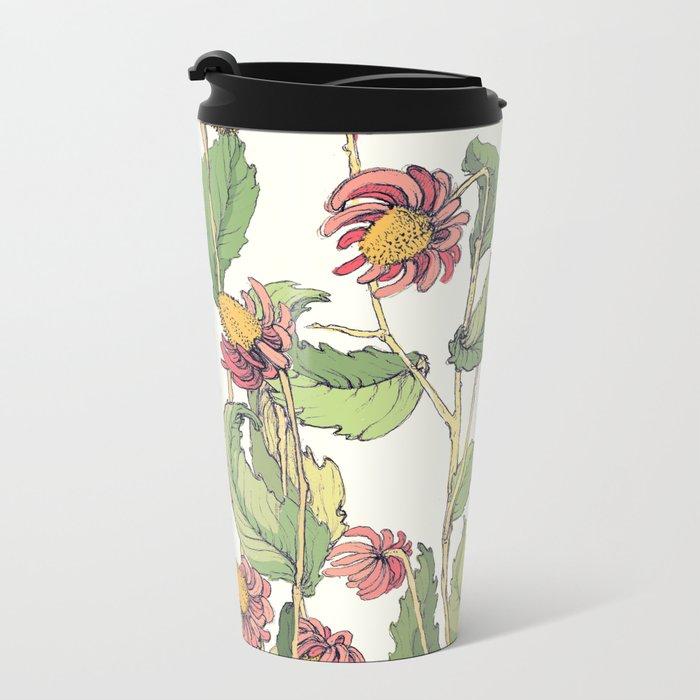 cute flowers Metal Travel Mug