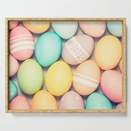 Colorful Easter Egg Photograph - Pink, Teal, Green Yellow and Orange Serving Tray