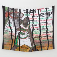 nba Wall Tapestries featuring NBA PLAYERS - Shawn Kemp by Ibbanez
