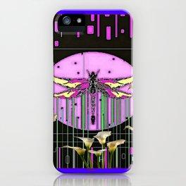 Purple Art Nouveau Calla Lilies Dragonfly Art iPhone Case